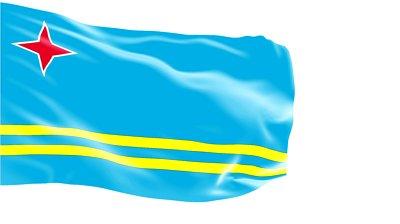 Voilà le Drapeau d'Aruba, territoire néerlandais d'Outre Mer dont au sujet duquel je peux vous dire plein de trucs, MERCI INTERNET !